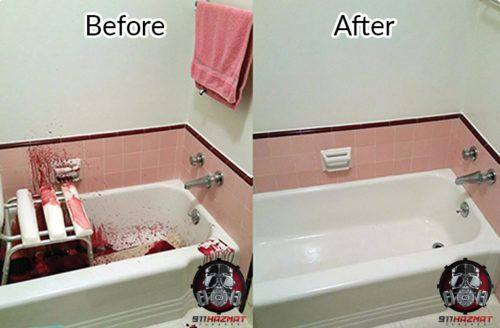 Suicide clean up in San Francisco, before and after cleaning a bath tub
