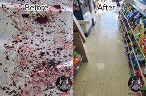 Blood clean up in Oakland, CA, convenience store floor, before and after