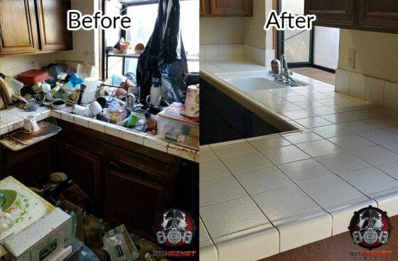 Before and After of Kitchen with Hoarder Cleaning in Stockton, CA