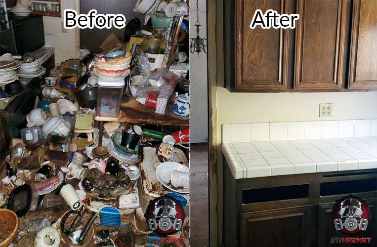 Hoarder clean up in Roseville, CA, before and after cleaned kitchen counter