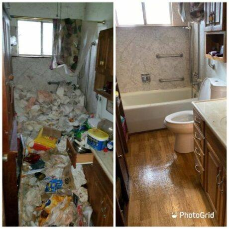 Hoarder cleanup before and after in Sacramento home