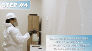 Step #4: Decontamination Process, Apply EPA Approved Anti-Spectic FOAM-IT Therapy to All Hard Surfaces