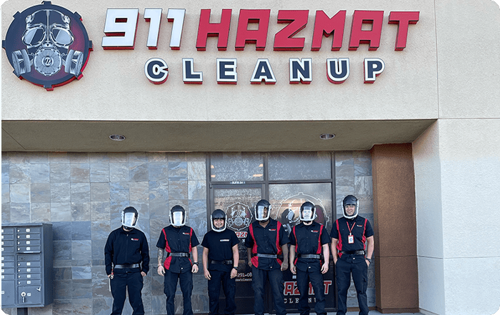 911 Hazmat Cleanup team outside of office location
