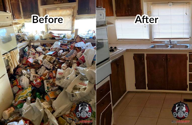 Before and after hoarding cleaning in San Francisco home kitchen
